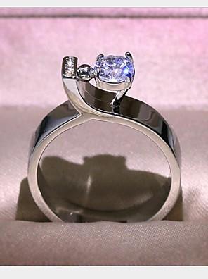 cheap Quartz Watches-Women's Ring Cubic Zirconia 1pc Silver Brass Geometric Fashion Daily Holiday Jewelry Geometrical Flower Cool