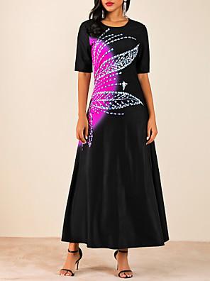 cheap Evening Dresses-Women's Maxi A Line Dress - Half Sleeve Color Block Black M L XL XXL XXXL
