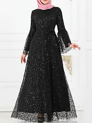 cheap Women's Dresses-Women's Maxi Shift Dress - Long Sleeve Solid Colored Print Elegant Wine Black Purple Blushing Pink S M L XL XXL XXXL XXXXL