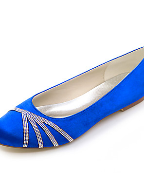 cheap Wedding Wraps-Women's Wedding Shoes Glitter Crystal Sequined Jeweled Flat Heel Round Toe Sparkling Glitter Satin Minimalism Fall / Spring & Summer Purple / Red / Dark Purple / Party & Evening