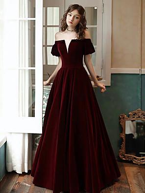 cheap Evening Dresses-A-Line Elegant Vintage Inspired Prom Formal Evening Dress Off Shoulder Short Sleeve Floor Length Satin Velvet with Pleats 2020
