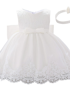 cheap Christening Gowns-Baby Girls' Active Color Block Bow / Layered / Pleated Sleeveless Knee-length Dress White