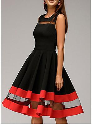 cheap Party Dresses-Women's Plus Size A Line Dress - Sleeveless Solid Colored Basic 1950s Homecoming Cocktail Party Slim Black Navy Blue S M L XL XXL XXXL XXXXL XXXXXL