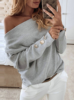 cheap Women's Blouses-Women's Solid Colored Loose T-shirt Daily Off Shoulder White / Purple / Gray