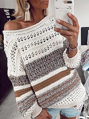 povoljno Bluza-Žene Prugasti uzorak Dugih rukava Pullover Džemper od džempera, Okrugli izrez purpurna boja / Bijela / Zelen S / M / L