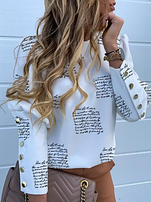 cheap Women's Skirts-Women's Geometric Print Shirt Street chic Daily White / Yellow