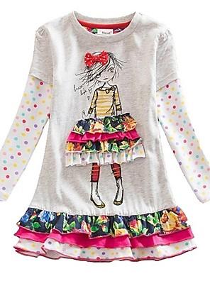 cheap Girls' Dresses-Kids Girls' Cute Color Block Cartoon Dress White