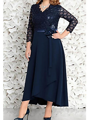 cheap Mother of the Bride Dresses-A-Line Mother of the Bride Dress Elegant & Luxurious V Neck Asymmetrical Chiffon Lace 3/4 Length Sleeve with Sash / Ribbon Appliques 2020