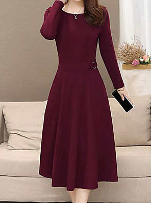 cheap Women's Dresses-Women's Plus Size Sheath Dress - Long Sleeve Solid Colored Wine Black Blue Green L XL XXL XXXL XXXXL XXXXXL