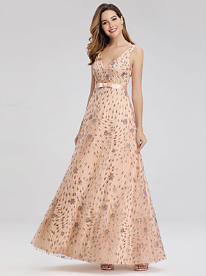 cheap Prom Dresses-A-Line Elegant Formal Evening Dress V Neck Sleeveless Floor Length Lace Tulle with Crystals 2020