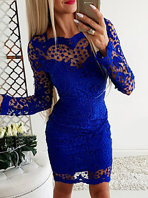 cheap Mini Dresses-Women's Bodycon Dress - Long Sleeve Solid Colored Basic Slim Royal Blue S M L XL XXL / Lace