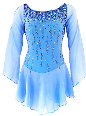 cheap Ice Skating Dresses , Pants & Jackets-21Grams Figure Skating Dress Women's Girls' Ice Skating Dress Yan pink White / White Yellow & Yellow Open Back Spandex Stretch Yarn Micro-elastic Training Skating Wear Classic Crystal / Rhinestone