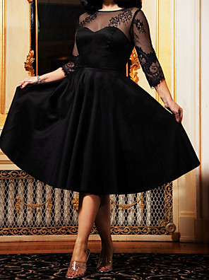 cheap Bridesmaid Dresses-Women's A Line Dress - 3/4 Length Sleeve Solid Colored Mesh Lace up Elegant Cocktail Party Going out Kentucky Derby Black S M L XL XXL
