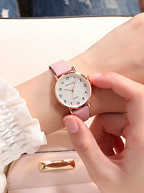 cheap Quartz Watches-Women's Quartz Watches Quartz Vintage Style Fashion Casual Watch PU Leather Black / Brown / Green Analog - Black Blushing Pink Green One Year Battery Life / Stainless Steel