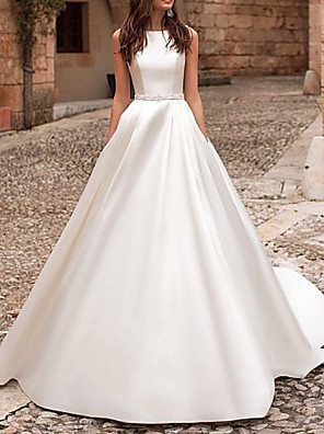 cheap Prom Dresses-A-Line Wedding Dresses Jewel Neck Court Train Satin Regular Straps Formal Simple Illusion Detail Elegant with Sashes / Ribbons Buttons 2020