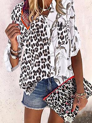 cheap Women's Blouses-Women's Leopard Blouse Causal Daily V Neck White / Black / Army Green / Gray
