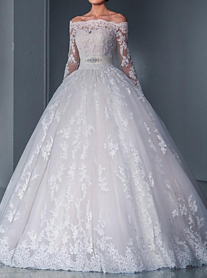 cheap Wedding Dresses-Ball Gown Wedding Dresses Off Shoulder Sweep / Brush Train Lace Long Sleeve Glamorous See-Through Illusion Sleeve with Sashes / Ribbons Bow(s) 2020