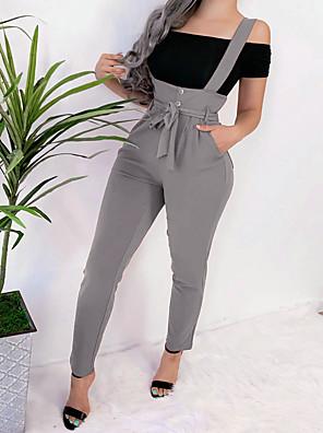 cheap Women's Pants-Women's Basic Chinos Pants Solid Colored Wine Khaki Green S M L