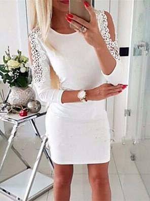 cheap Women's Dresses-Women's Sheath Dress - Long Sleeve Solid Colored Basic White Black Blushing Pink Gray S M L XL XXL