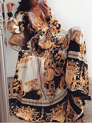 cheap Summer Dresses-Women's Maxi Swing Dress - Long Sleeve Geometric Print Print Deep V Holiday Going out Loose Brown S M L XL XXL XXXL
