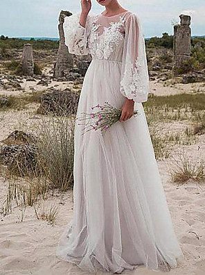 cheap Wedding Dresses-A-Line Wedding Dresses Jewel Neck Floor Length Tulle Long Sleeve Romantic Beach Boho See-Through Illusion Sleeve with Appliques 2020