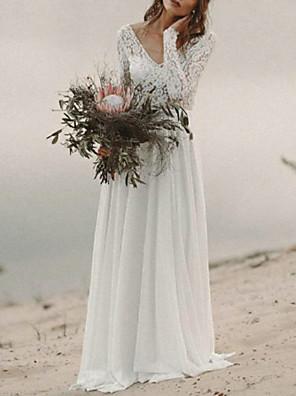 cheap Wedding Dresses-A-Line Wedding Dresses V Neck Sweep / Brush Train Chiffon Lace Long Sleeve Beach Boho Backless Illusion Sleeve with 2020