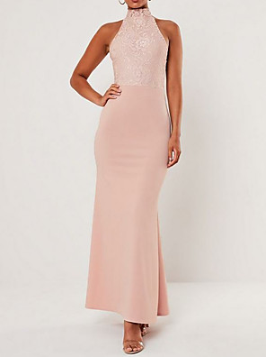 cheap Evening Dresses-Sheath / Column Halter Neck Floor Length Chiffon Bridesmaid Dress with Lace / Open Back