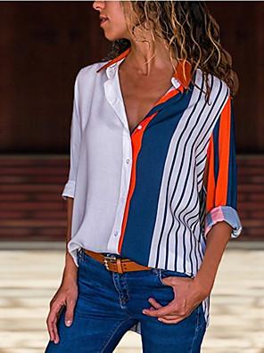 povoljno Bluza-Žene Prugasti uzorak Cvjetni print Bluza Dnevno Kragna košulje Obala / Red