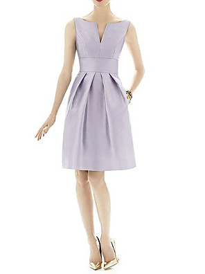cheap Bridesmaid Dresses-A-Line V Neck Knee Length Satin Bridesmaid Dress with Pleats