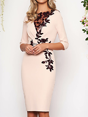 cheap Prom Dresses-Sheath / Column Elegant Holiday Cocktail Party Dress Jewel Neck 3/4 Length Sleeve Knee Length Polyester with Appliques 2020