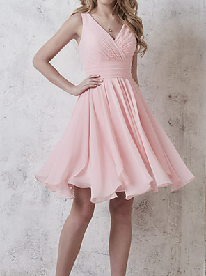 cheap Bridesmaid Dresses-A-Line Plunging Neck Knee Length Chiffon Bridesmaid Dress with Ruching