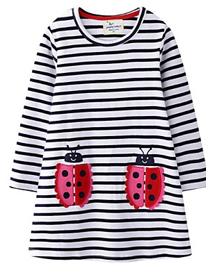 cheap Girls' Dresses-Kids Girls' Striped Dress White