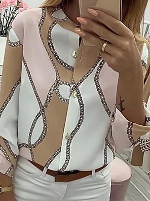 cheap Prom Dresses-Women's Chains Print Button Blouse Causal Daily Khaki