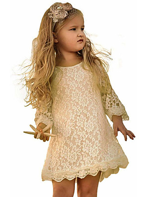 cheap Girls' Dresses-Kids Toddler Girls' Sweet Solid Colored Floral Lace 3/4 Length Sleeve Above Knee Dress Wine