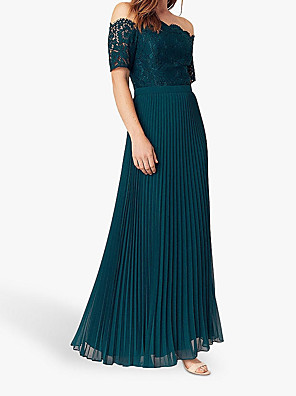 cheap Romantic Lace Dresses-A-Line Mother of the Bride Dress Elegant & Luxurious Off Shoulder Floor Length Polyester Short Sleeve with Appliques Ruching 2020