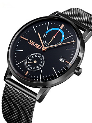 cheap Quartz Watches-SKMEI Men's Steel Band Watches Quartz Stylish Fashion Water Resistant / Waterproof Stainless Steel Black / Blue / Rose Gold Analog - Rose Gold Black Blue Two Years Battery Life / Large Dial
