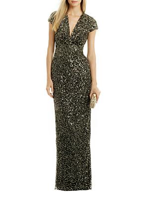 cheap Evening Dresses-Sheath / Column Sparkle & Shine Formal Evening Dress V Neck Short Sleeve Floor Length Polyester with Sequin Split Front 2020
