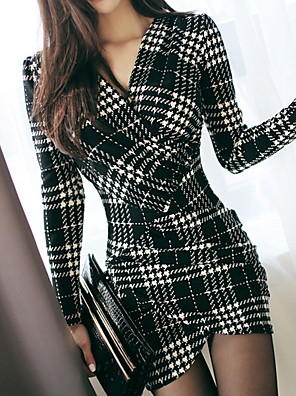 cheap Women's Dresses-Women's Mini Sheath Dress - Long Sleeve Plaid V Neck Elegant Slim White Black S M L XL