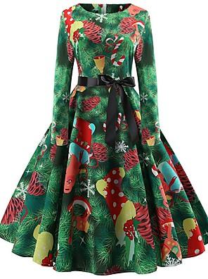 cheap Women's Dresses-Women's A-Line Dress Knee Length Dress - Long Sleeve Floral Christmas Party Green S M L XL XXL