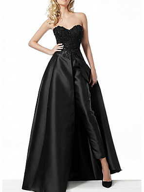 cheap Prom Dresses-Jumpsuits Hot Black Prom Formal Evening Dress Sweetheart Neckline Sleeveless Floor Length Polyester with Overskirt Appliques 2020