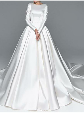 cheap Wedding Dresses-A-Line Wedding Dresses Jewel Neck Chapel Train Satin Long Sleeve Simple Plus Size Elegant with 2020