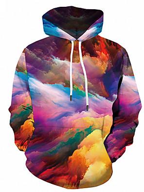 billiga Huvtröjor och sweatshirts till herrar-Herr Plusstorlekar Huvtröja 3D Huva Ledigt Streetchic Pull Tröjor Regnbåge