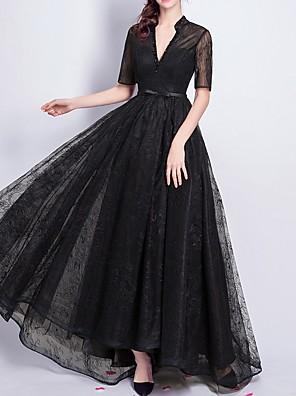 cheap Prom Dresses-A-Line Elegant Formal Evening Dress V Neck Short Sleeve Floor Length Lace with Sash / Ribbon Beading 2020