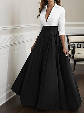 cheap Cocktail Dresses-A-Line Mother of the Bride Dress Elegant & Luxurious Plunging Neck Floor Length Satin Half Sleeve with Ruching 2020