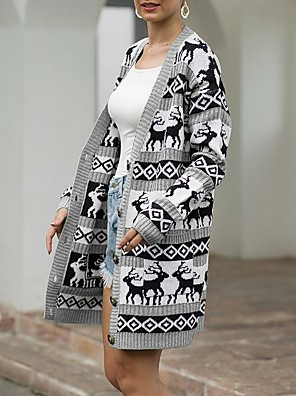 cheap More To Love-Women's Christmas Animal Long Sleeve Cardigan Sweater Jumper, V Neck Wine / Blue / Green S / M / L