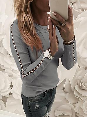 povoljno Bluza-Žene Dnevno Bluza Jednobojni Izrezati Dugih rukava Tops Osnovni Blushing Pink Sive boje