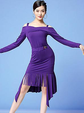 cheap Special Occasion Dresses-Latin Dance Skirts Ruffles Tassel Women's Training Performance Long Sleeve Natural Milk Fiber