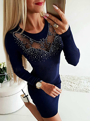 cheap Mini Dresses-Women's Sheath Dress - Long Sleeve Solid Colored Cut Out Glitter Basic Daily Wear Navy Blue Gray S M L XL