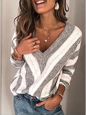 cheap Women's Sweaters-Women's Striped Long Sleeve Pullover Sweater Jumper, V Neck Wine / Purple / Blue S / M / L