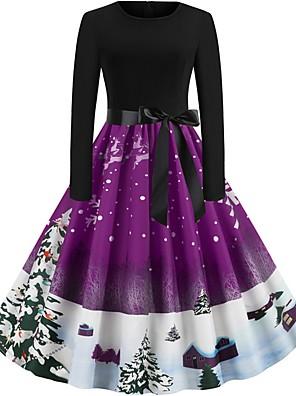 cheap Women's Dresses-Women's Asymmetrical Swing Dress - Long Sleeve Floral Print Elegant Christmas Party Black Blue Purple Red Green S M L XL XXL